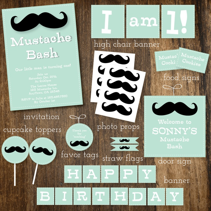 mint little man mustache and bow tie baby shower or birthday bash