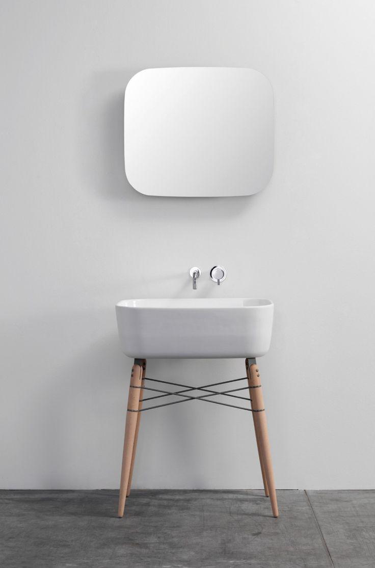 Rectangular White Ceramic Free Standing Sink Basins And Round Solid Wood Sink Legs