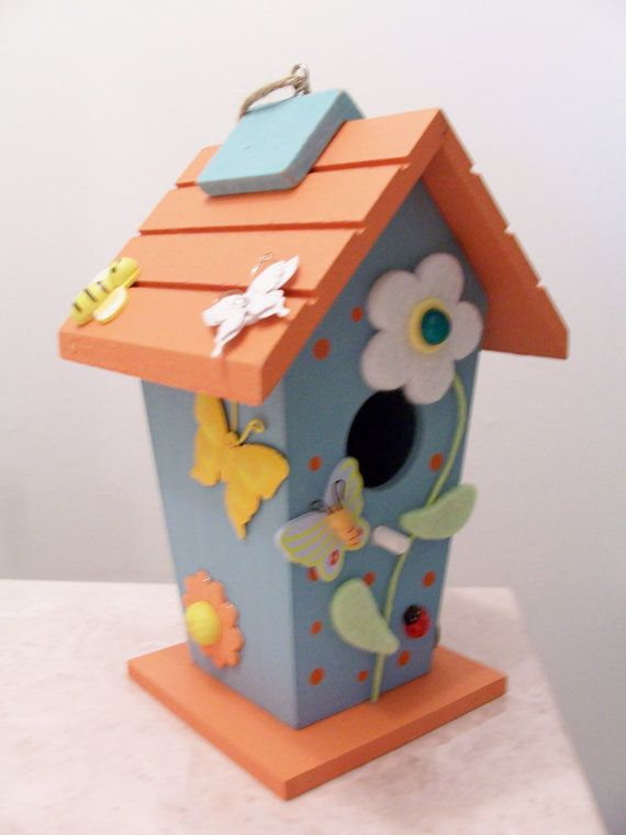 Wooden decorative birdhouse butterfly flower ladybug for Decorative birds for outside