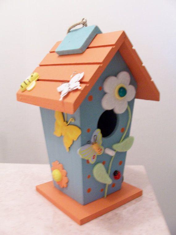 Wooden decorative birdhouse - butterfly/flower/ladybug birdhouse - garden decor - garden outdoor ornament - decorative wooden birdhouse via Etsy