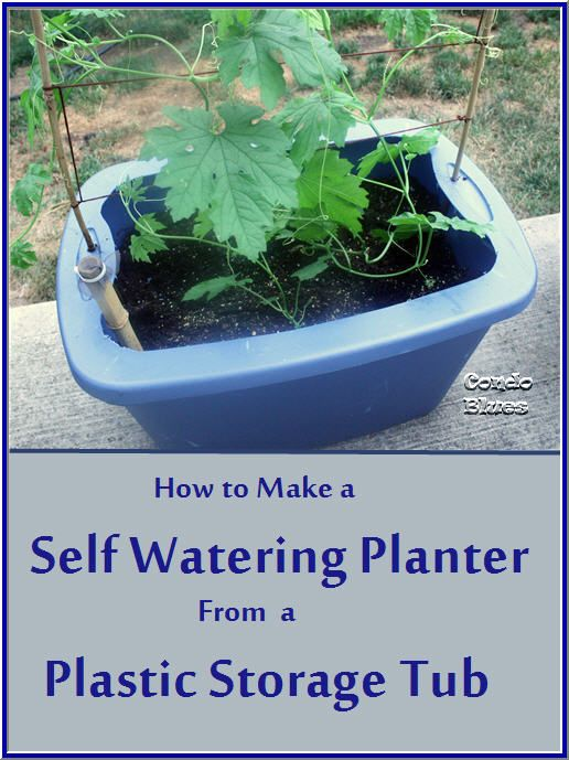 A step by step tutorial how to make a self watering planter with a trellis from a plastic storage tub.