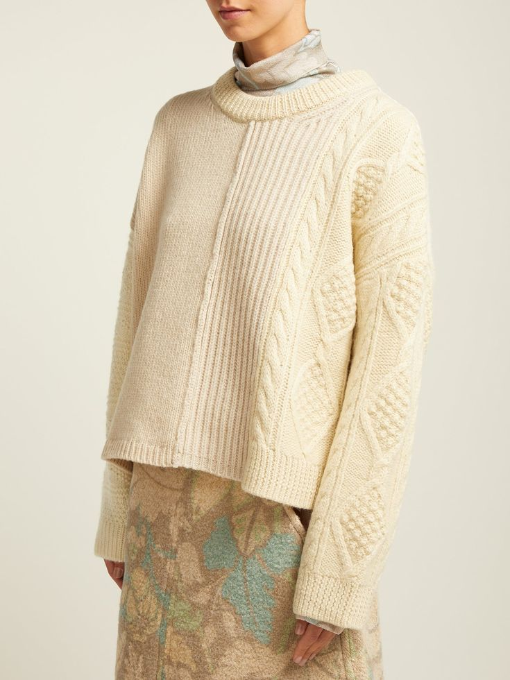 Patchwork cable-knit wool sweater | Acne Studios | MATCHESFASHION.COM UK