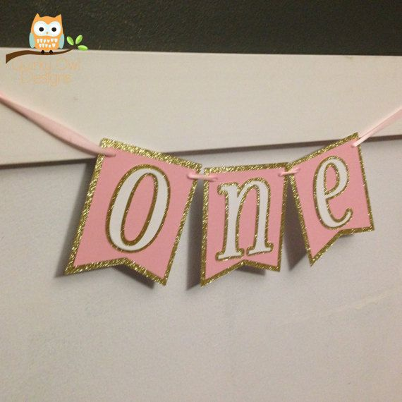 First Birthday Party Banner Gold Glitter Pink & White Baby