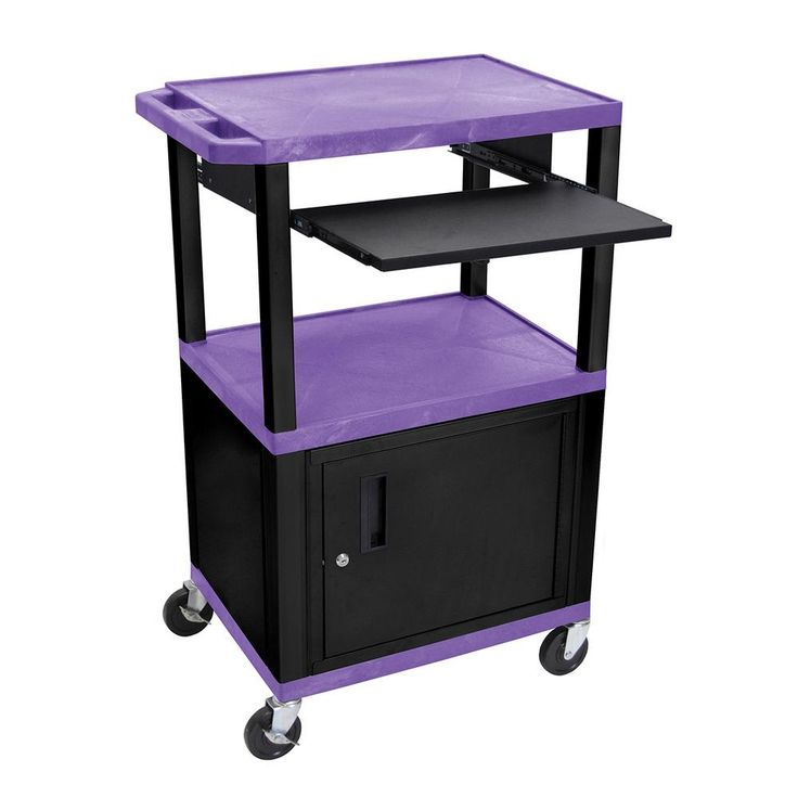 Wtps 42 in. A/V Cart With Black Cabinet And Pullout Shelf, Purple Shelves, Purple/Black