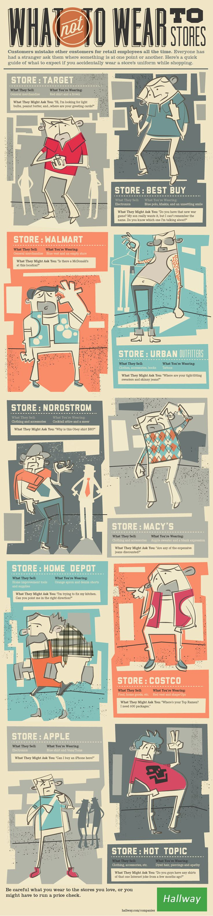 What Not to Wear to StoresHallways, Illustration, Columns, Graphics Design, Bulbs, Retail Stores, Wear, Infographic Design, Dresses Codes