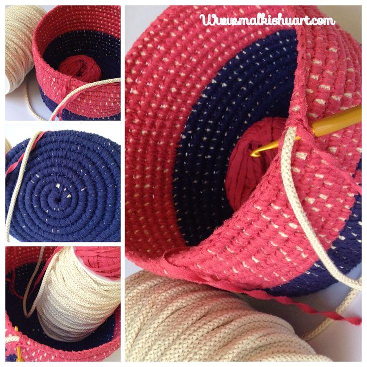 crochet around fabricsropes cord trapillo t shirt
