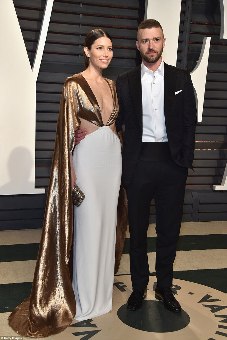 The happy couple:Joining her on the red carpet was her husband Justin Timberlake who looked slick in a tuxedo, yet defied protocol by shedding his bowtie and going for an open-necked look