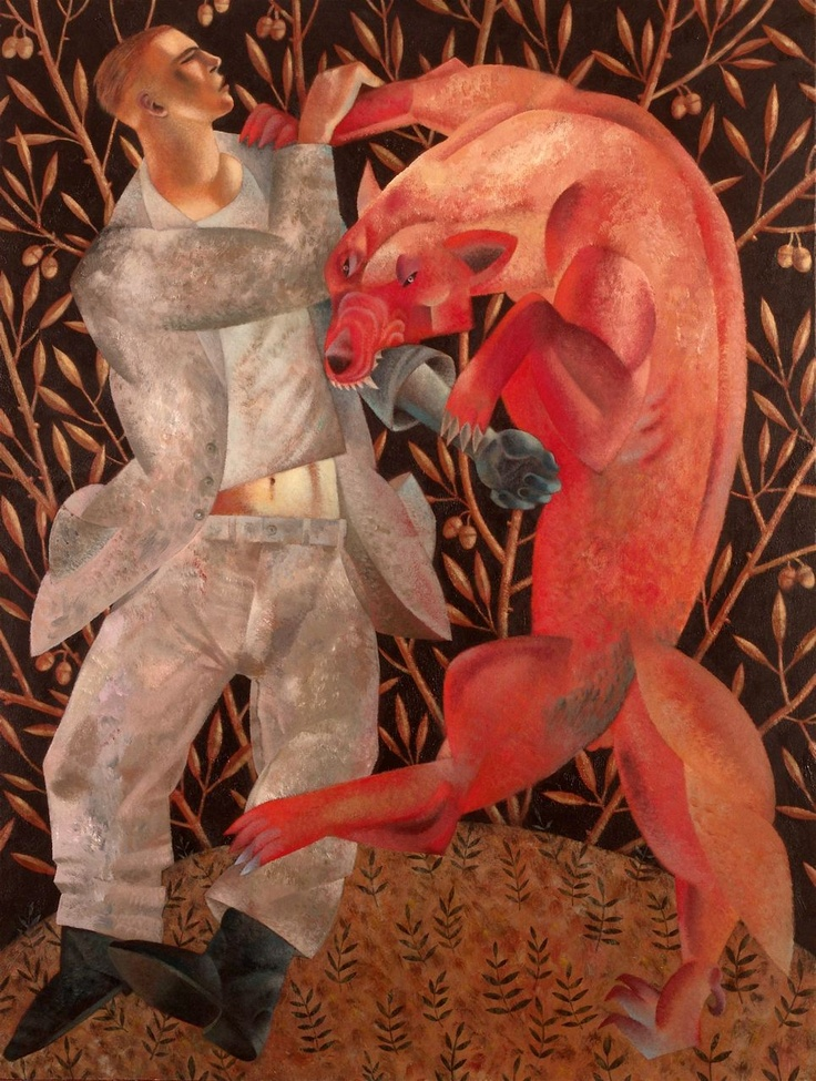 'Furious Embrace: Hervé and the Wolf' by Clive Hicks-Jenkins
