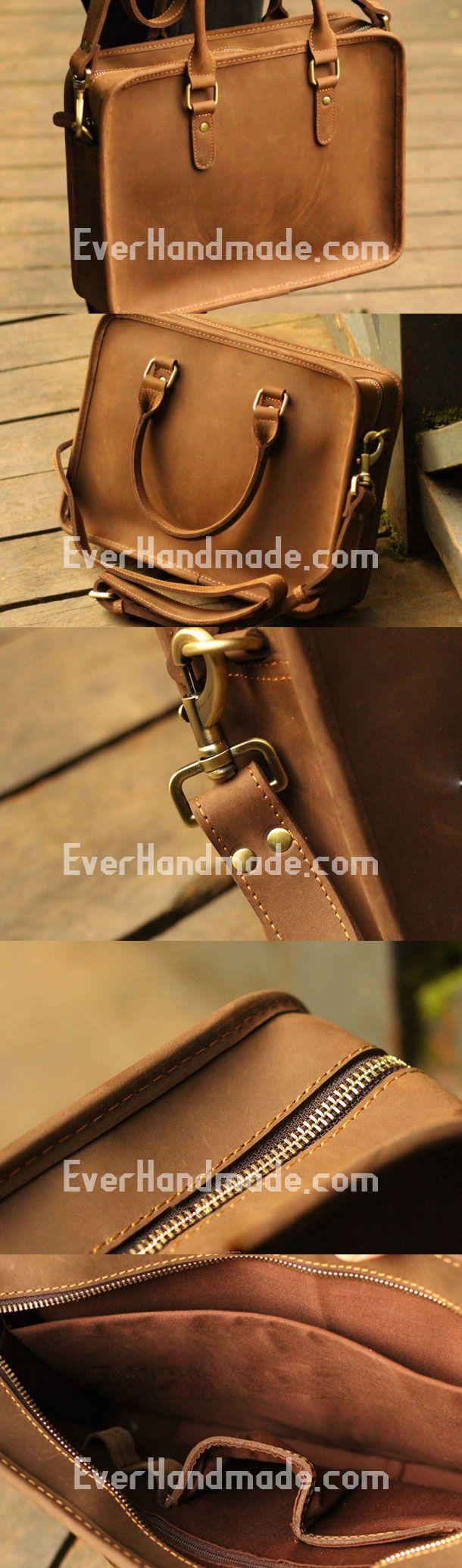 Genuine Leather Mens Briefcase Messenger Bag Laptop Bag Shoulder Bag