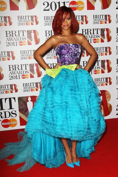 Rihanna Evening Dress - Rihanna stole the show at the Brit Awards in a colorful mermaid-esque ball gown.