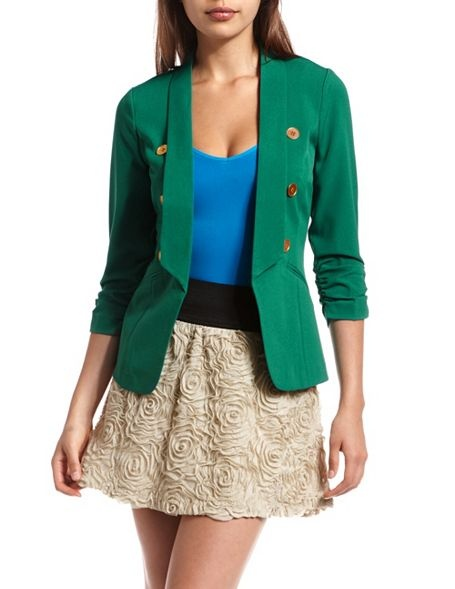 Open Shawl Collar Military Blazer: Charlotte Russe. Looking fore something similar in color and style: Light Pink Blazers, Style, Colors, Green Blazers, Spikes Collars, Military Blazers, Shawl Collars, Collars Military, All