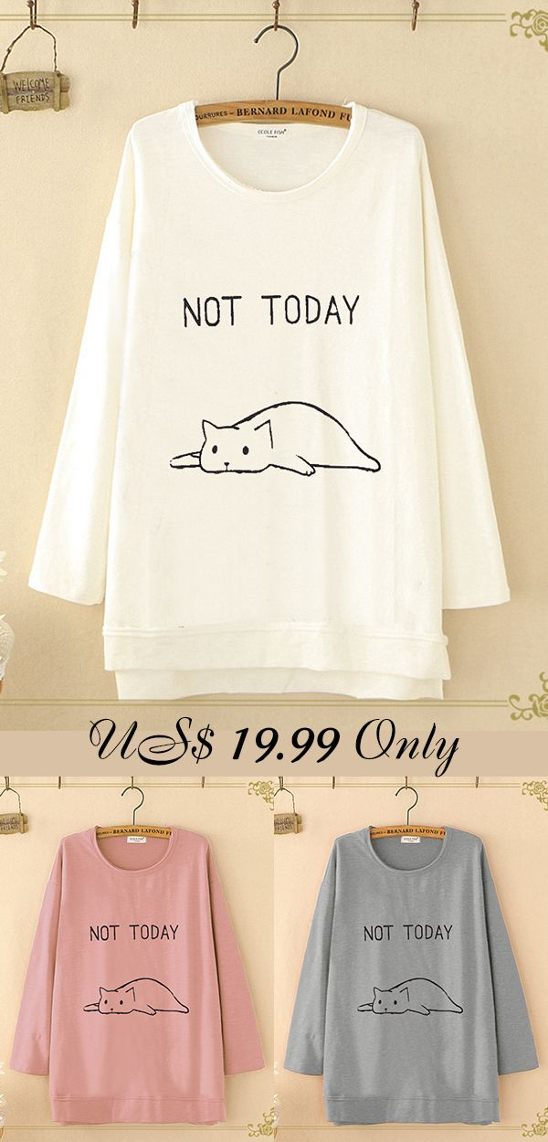 bfb5e2fd9c37 Print Cat Casual Oversize Crew Neck T-Shirt.  tshirts  young  cute ...