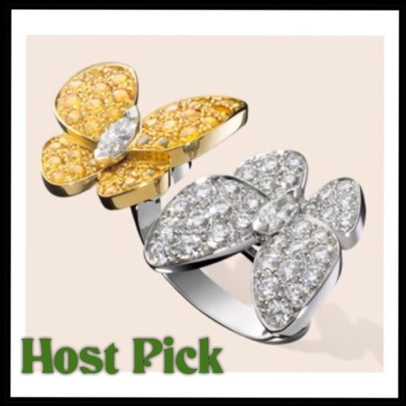 🎄Butterfly Ring HOST PICK Two butterfly between the finger ring, yellow gold, an white gold,  has round yellow sapphires, an round marquise -cut diamonds .....NWOT......Size is shown in 3rd picture...STATEMENT STYLE 9-2-2016 Park Lane Jewelry Rings