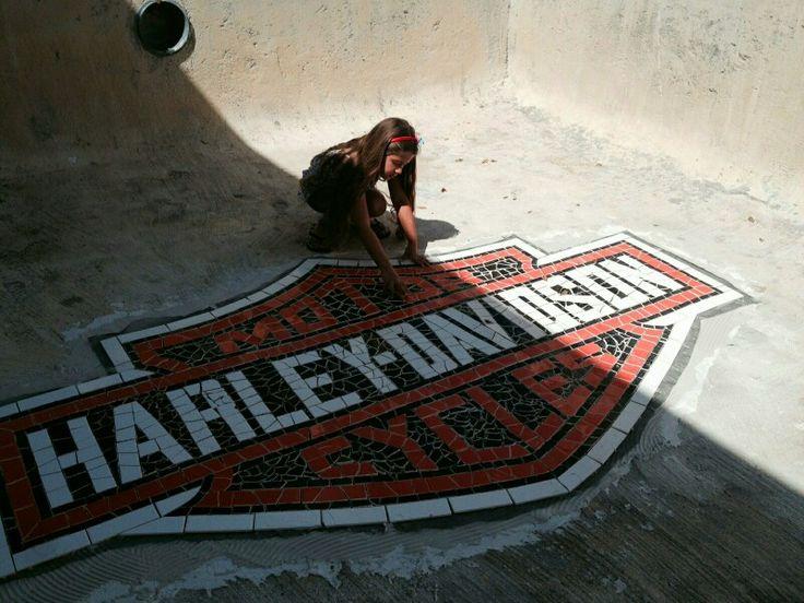 Harley Davidson Pool Tile Mosaic Fun Stuff Pinterest