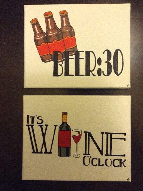 Beer30 and Wine O'clock Painting Set  8x10 Canvas by AliBArtwork, $36.00