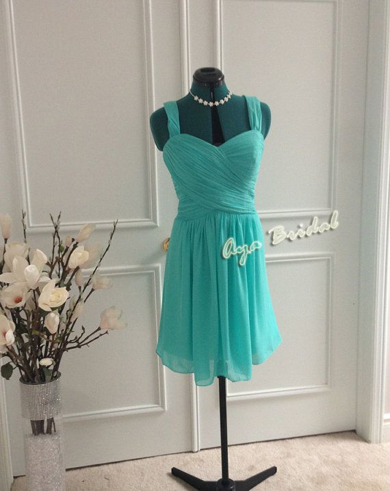 Turquoise Bridesmaid Dress/ Bridal party dress/ knee by AyaBridal
