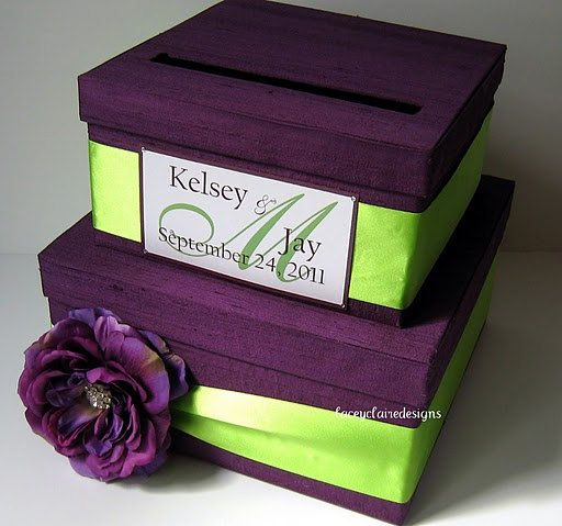 Maybe a combo of this and the circle one..Wedding Cards Boxes, Green Purple, Cardbox, Moneycard Boxes, Money Cards Boxes, Gift Cards, Boxes Green, Cards Money, Money Boxes