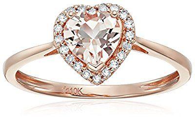 Heart Halo 10k Rose Gold Morganite and Diamond Promise Ring