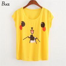 Dos desenhos animados Pikachu amarelo camiseta moda Anime roupas falso t-shirt de manga curta T(China (Mainland))