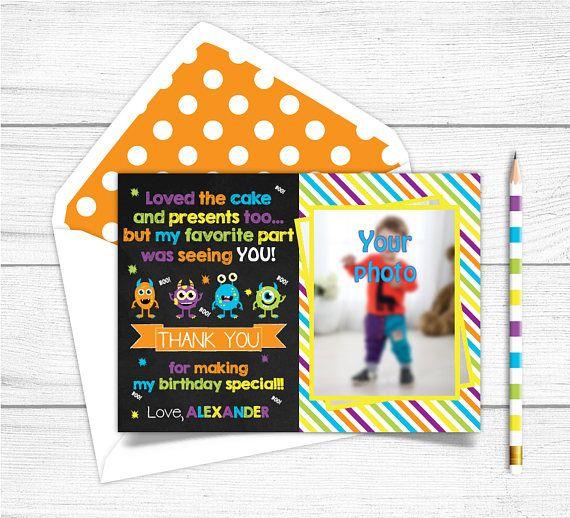 Printable Chalkboard Monsters Birthday Thank you Card