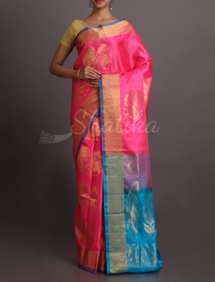 Suman Plush Peacock Motifs Ritzy #WeddingSilkSaree