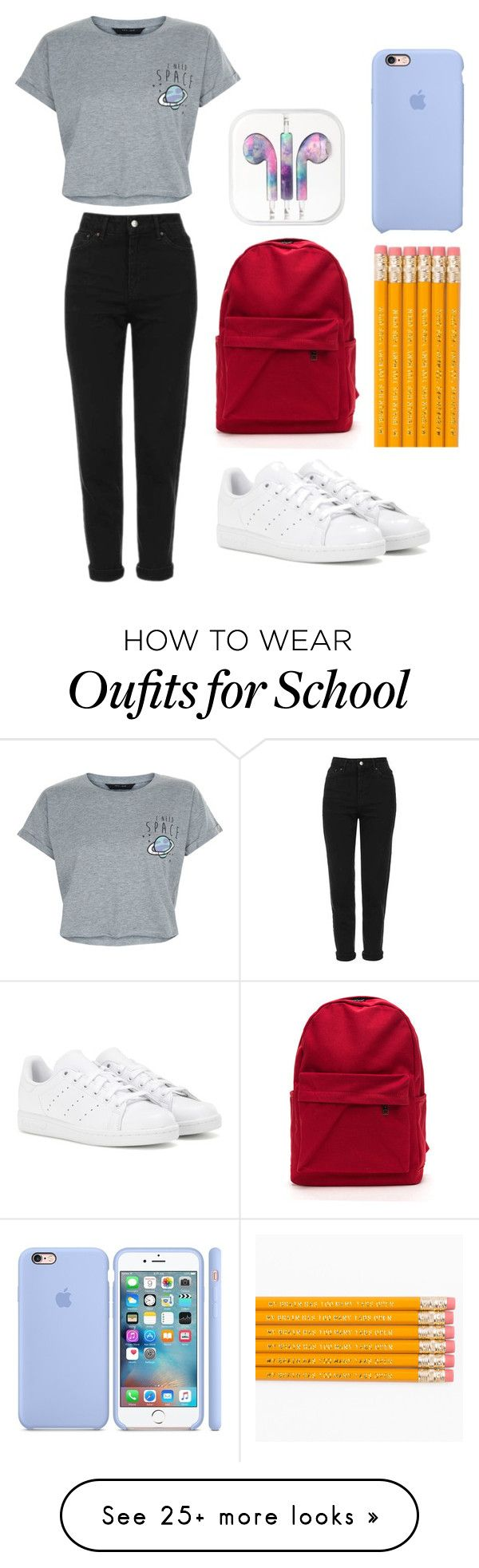 """""""School"""" by ivana-trejo on Polyvore featuring Topshop, New Look and adidas"""