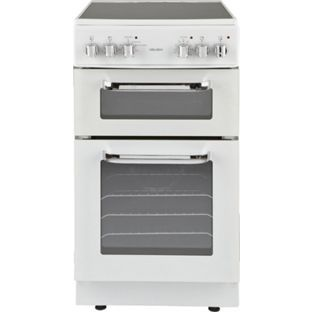 If we go for a free standing cooker instead - £299.99 - more money but no need for the shelving unit. Buy Bush BFEDC50W Double Electric Cooker - White at Argos.co.uk, visit Argos.co.uk to shop online for Freestanding cookers