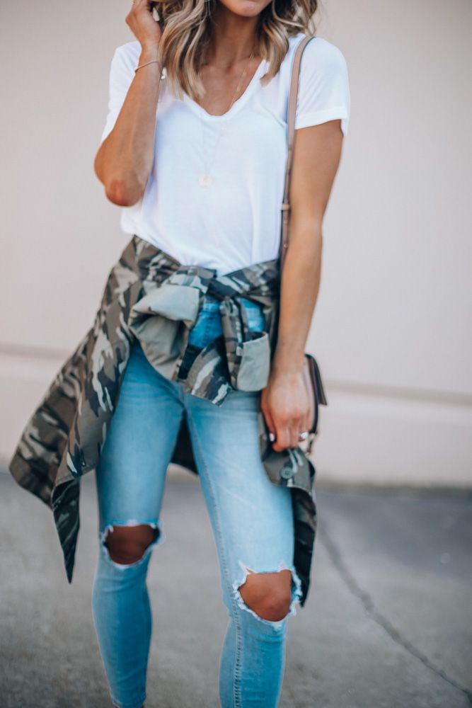 f2093847a9450 nordstrom anniversary sale outfit caslon camo utliity jacket free people  distressed jeans BP tee shirt