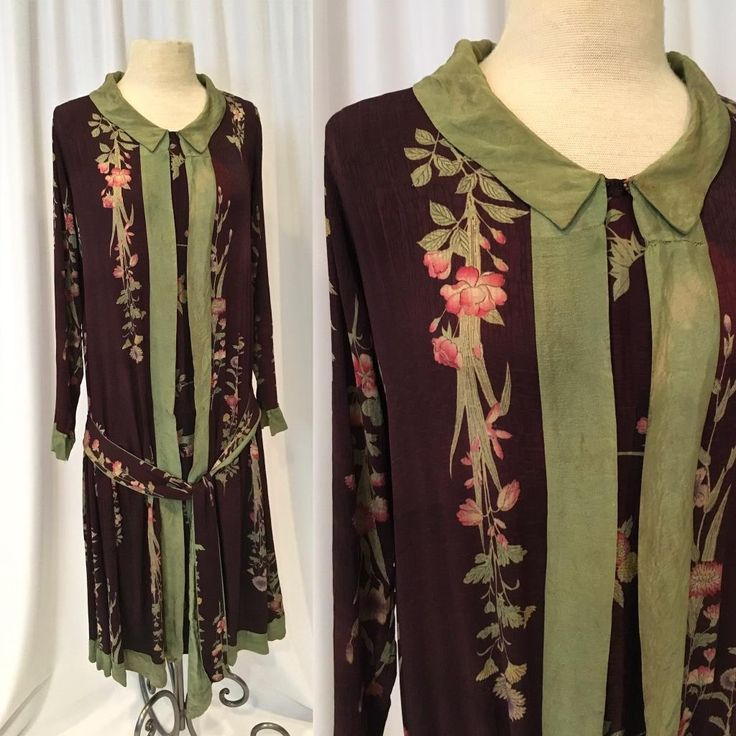 1920s Aubergine Silk with Pale Olive Silk Trim FAB print for re-use | eBay
