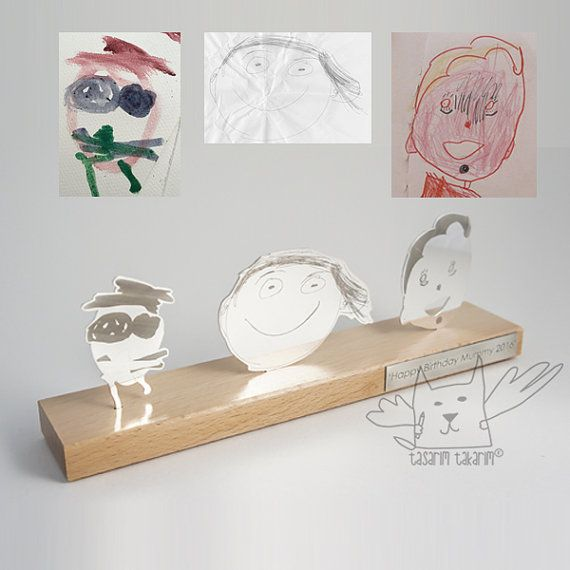 Handmade silver personalized three figured tabletop sculpture, gifts from your child's art, unique gift