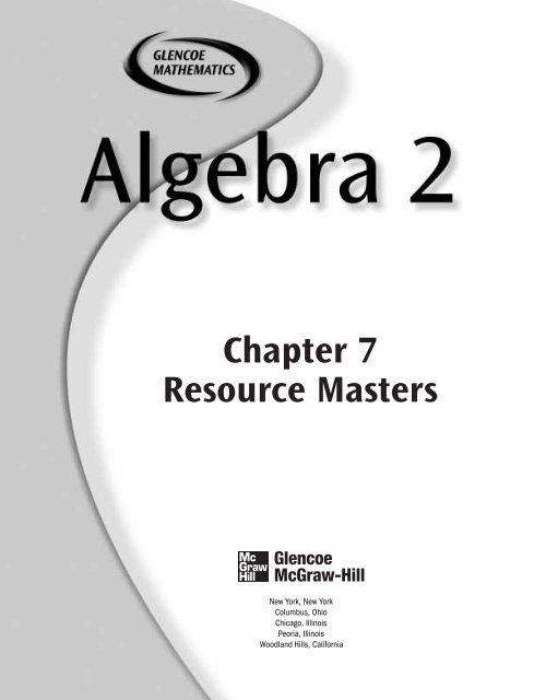Glencoe Algebra 2 Worksheets Chapter 7 Resource Masters In 2020 Algebra 2 Worksheets Kindergarten Math Worksheets Free Algebra