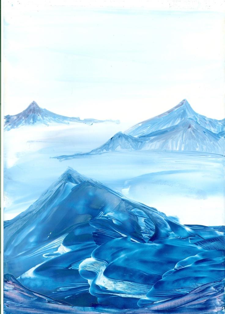 blue mountain top of my encaustic art paintings