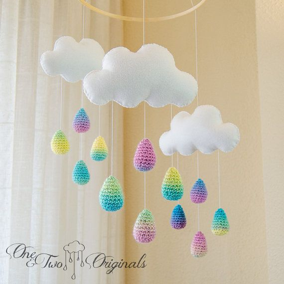 Brighten that special place your babys room with this cute crochet rain drops and felt cloud by One and Two Originals