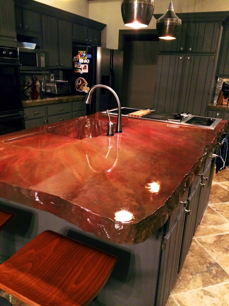 Concrete Island Concrete Countertops In 2019 Kitchen