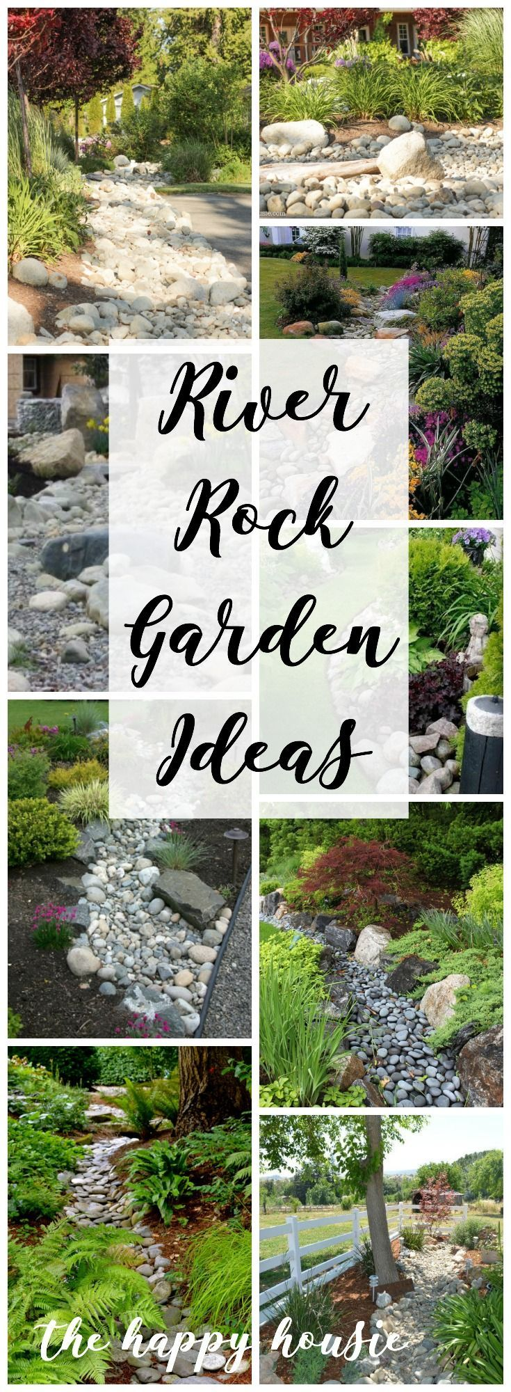 Landscaping with River Rock & Dry River Rock Garden Ideas - The Happy Housie