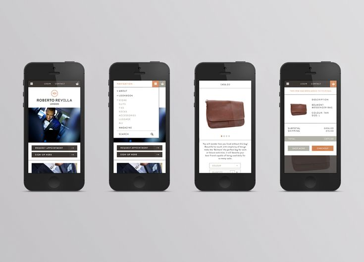 Responsive website for London based tailor Roberto Revilla designed by Friends