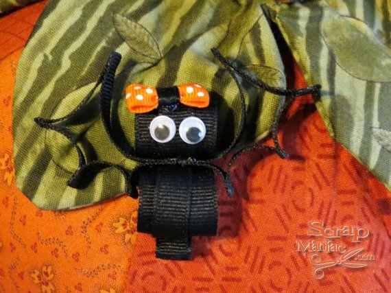 Cute Bat Halloween Ribbon Sculpture Hair Clip by ScrapManiacShop