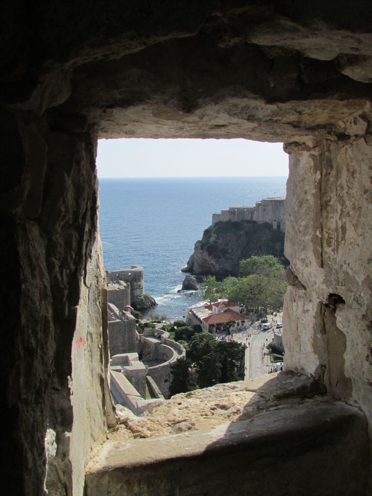Framed view of the Adriatic Sea from one of the forts of Dubrovnik walled city