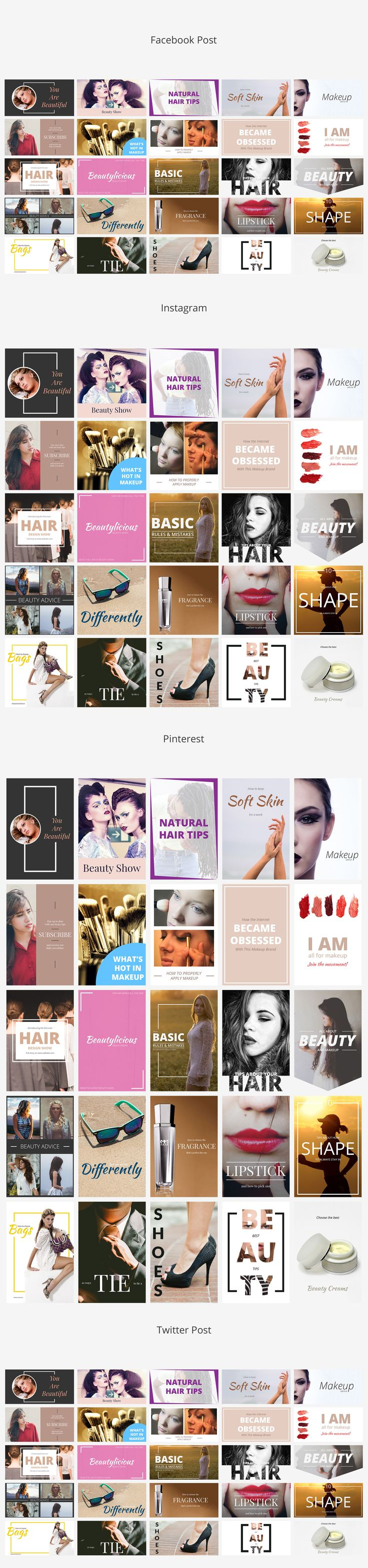 Beauty Social Media Banners  by Web Donut on @creativemarket