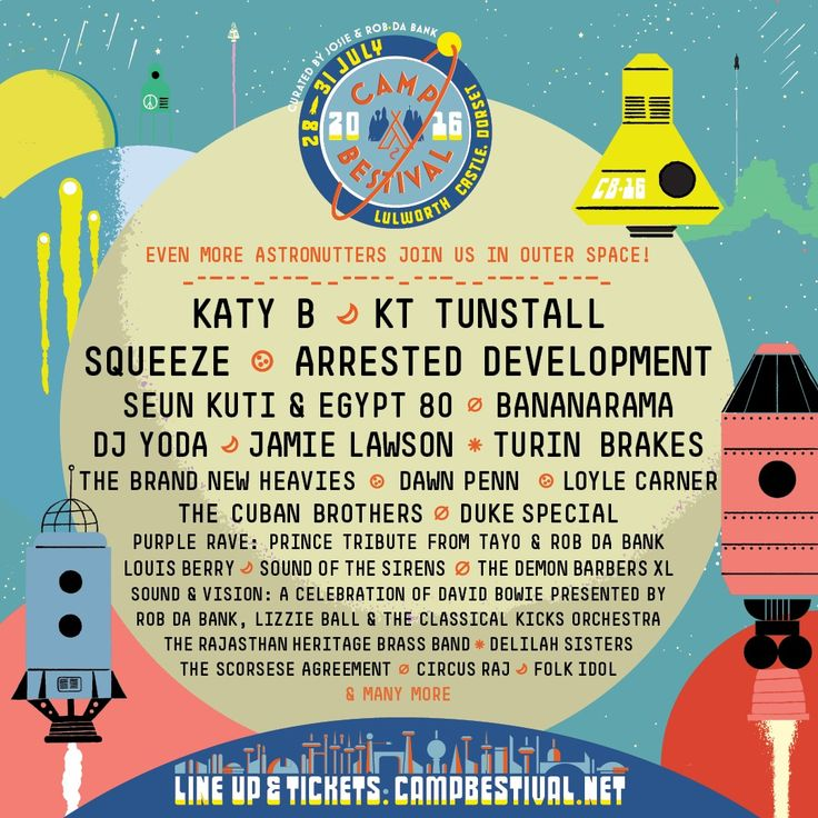 We're over the moon to announce even more astronutters who will be joining Camp Bestival's festi-holiday frolics, including Katy B, KT Tunstall, Squeeze & loads more! See you at Space Camp Lulworth for a party that's sure to be out of this world!