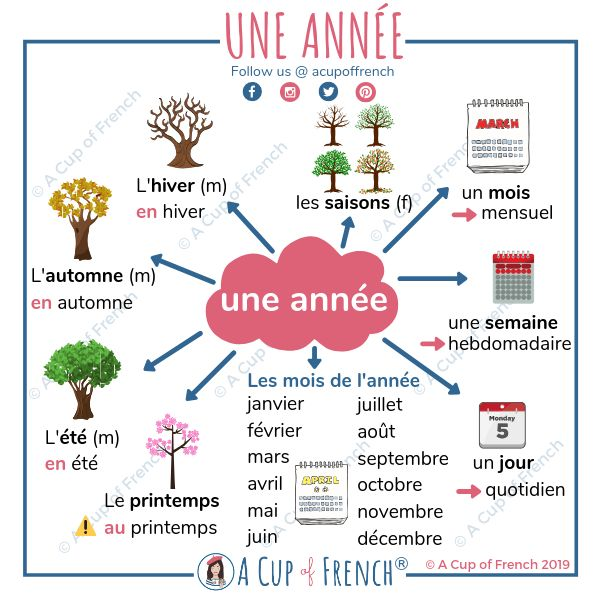 Blog • French vocabulary • Une année 📆