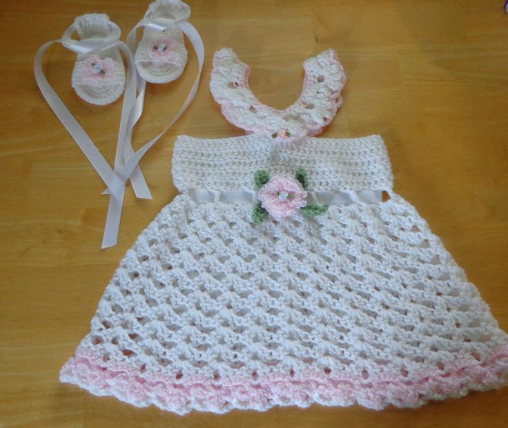 Sun Dress & Sandals Baby Girl Crochet Handmade 6-12 month White & Pink Rose  #Handmade #EverydayCasualParty