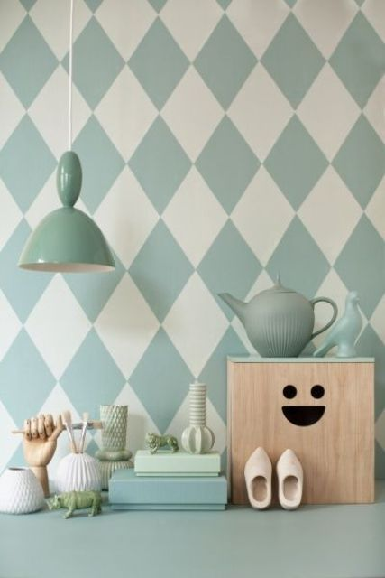 Amazing Mint Color In the Interiors: 35 Trendy Ideas : Mint Color In The Interiors With White And Green Wall And Wooden Table And Chandelier
