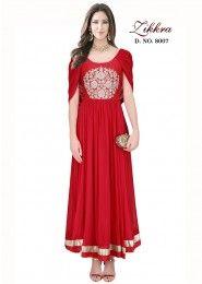 Party Wear Red Crepe Embroidered Work Salwar Kameez
