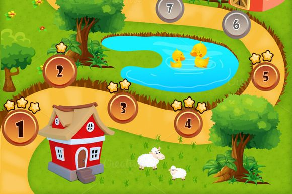 Game Level Map by S_N_K on Creative Market   Complete your game GUI with this adventure level map!  Great used for your adventure or casual games. Display a high quality cartoon map as your level select session page on your game. If you are tired with standard level selectors, this map will looks more interactive, fun, and eye catching!  100% Vector 100% Editable 100% Re-sizable Files included: .AI, .EPS, .PDF  Fonts used: Showcard Gothic; download it from: