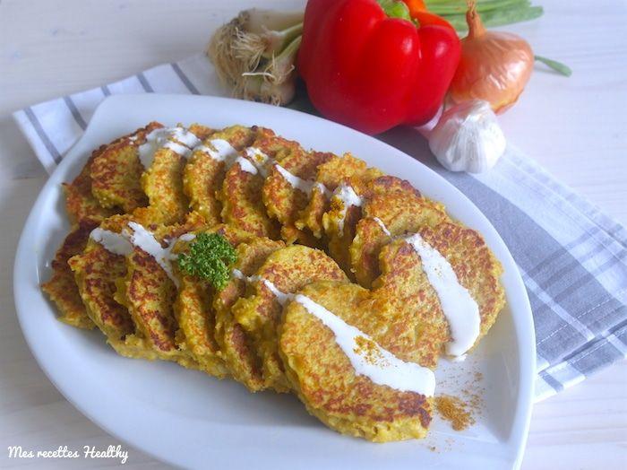 Recette de galette de légume au chou-fleur et au quinoa faciles et rapides à réaliser. Avec des épices et du son d'avoine. Avec données nutritionnelles.