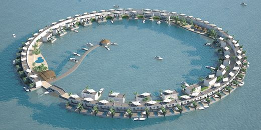 The White Lagoon, Floating Watervilla's, Maldives    The White Lagoon exists of 4 individual ring-shaped floating islands each with 72 Watervilla's connected to it. The rings function as beach-boulevards with white sand and greenery. At the inside of the rings there will be a marina with berthing places, restaurants, bars, shops and boutiques. Every Watervilla has a private beach, pool and a roof terrace which provides beautiful views over the natural Lagoon and it's white sandbank beach
