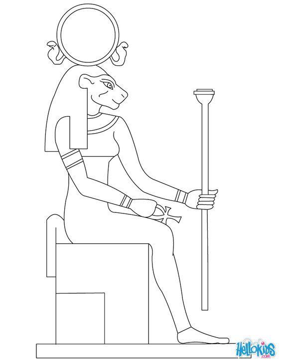 Tefnut Egyptian goddess & gods Coloring Page: