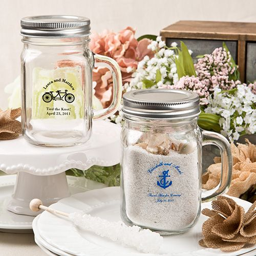 SCREEN PRINTED PERSONALIZED 12 OZ. GLASS MASON JAR W/ SILVER METAL SCREW TOP