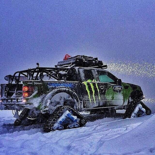 Ken Blocks Ford Raptor Tracks vehicle having fun in the snow!